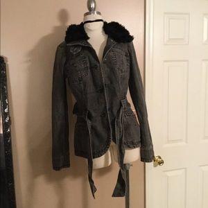 DKNY black fur collar denim jean jacket large rare